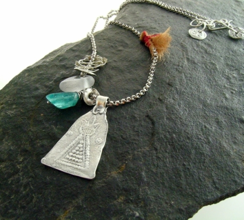 Awakening - with faceted apatite, beach glass and raw diamonds